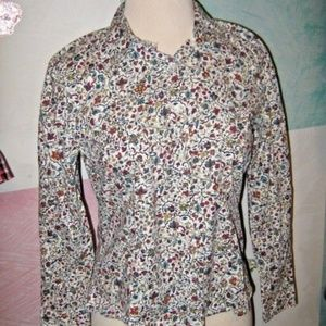 White w/ Red Green Blue Yellow Small Floral Shirt